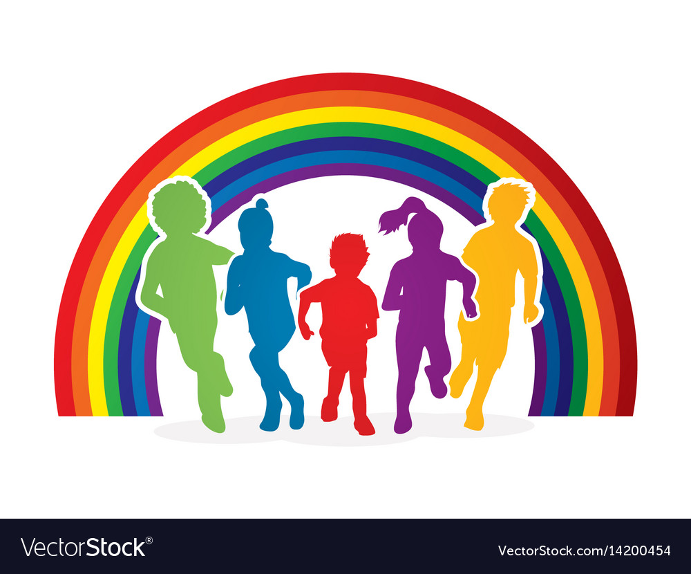 group of children running royalty free vector image