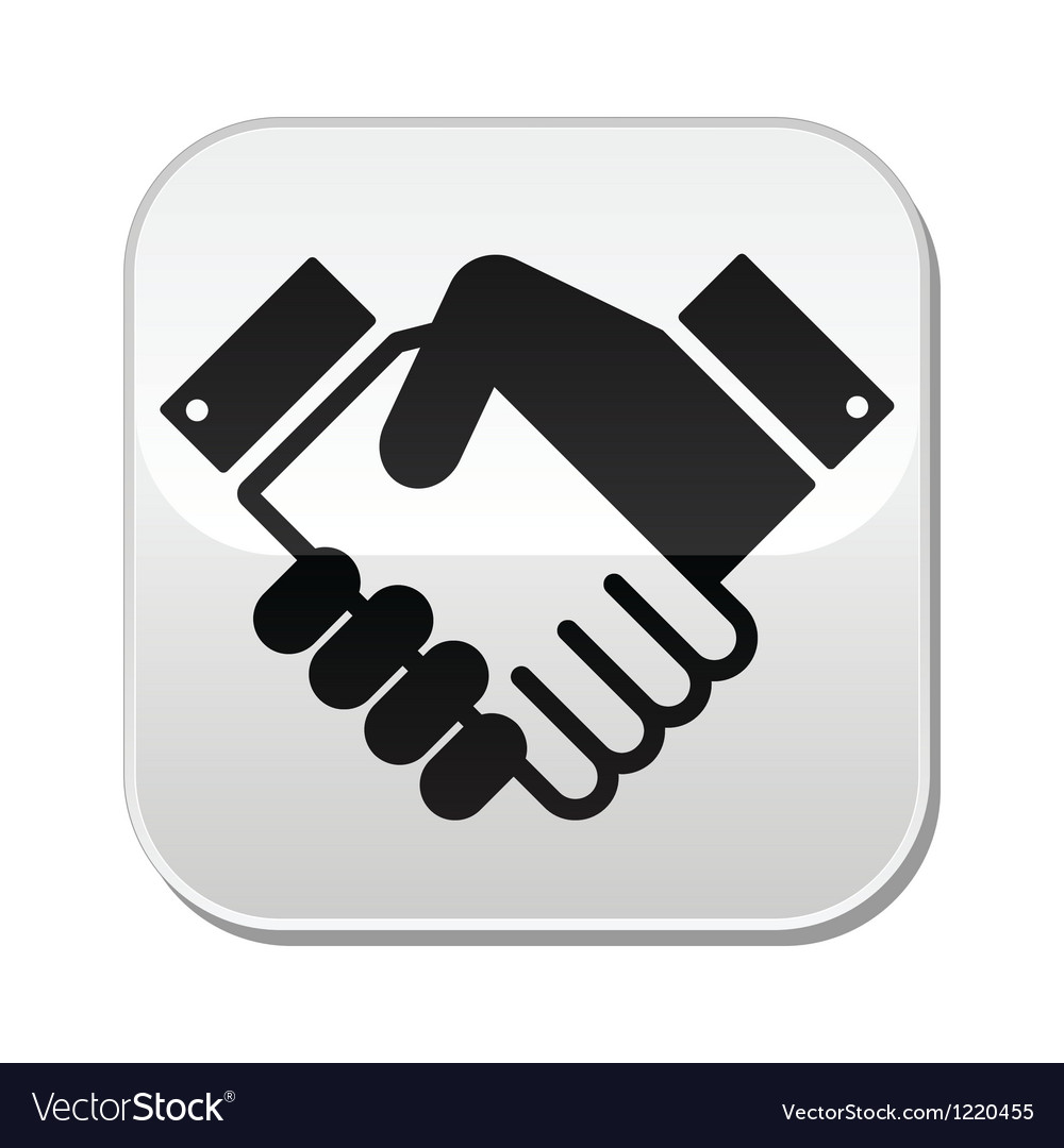 Handshake button - agreement business vector image