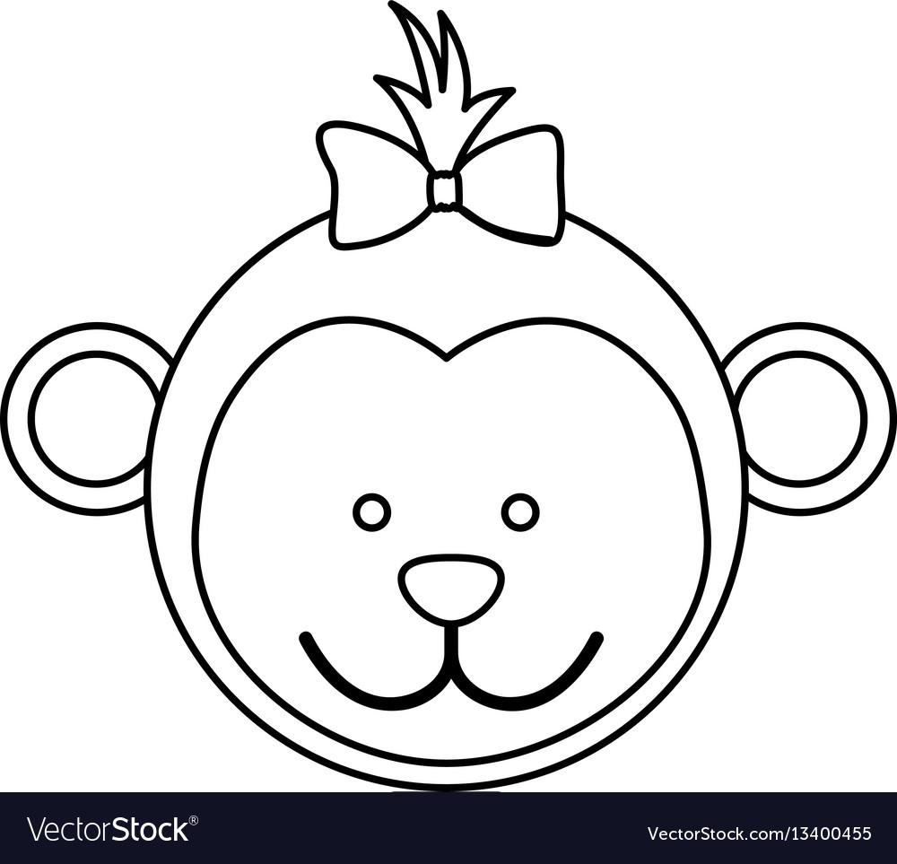 Figure face monkey ribbon bow head vector image