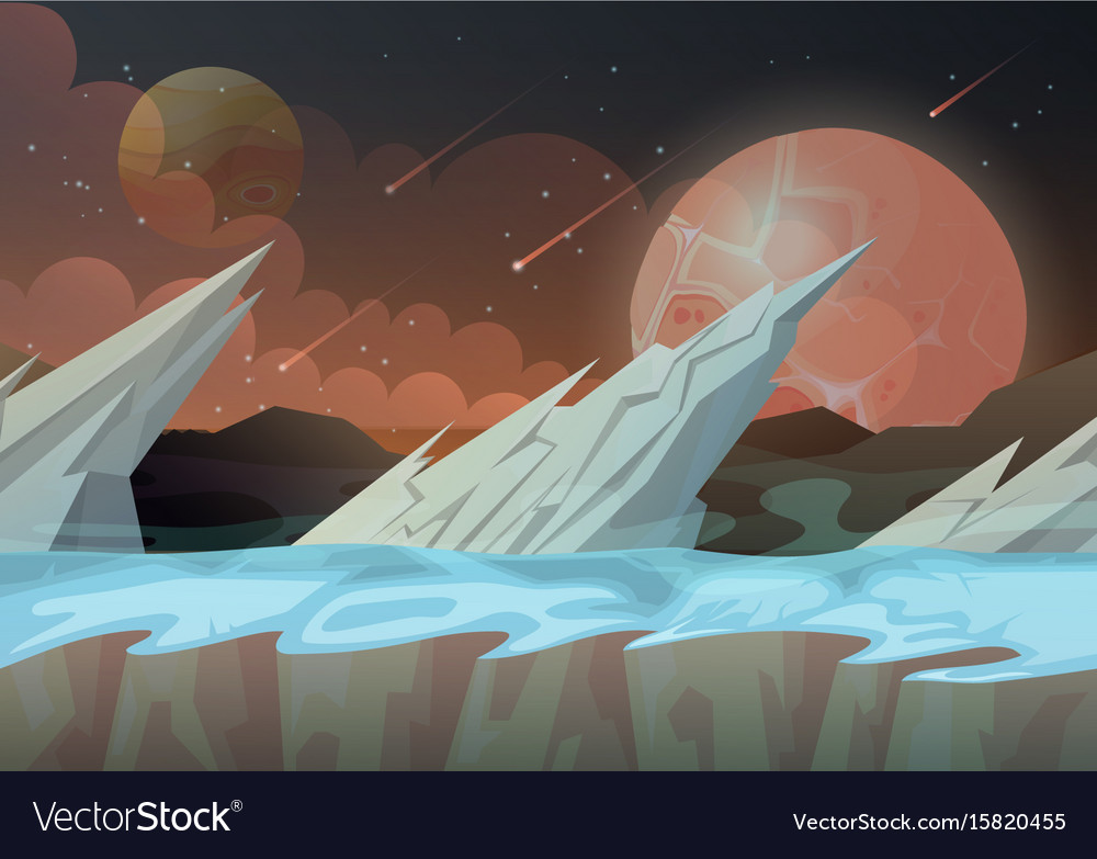 Ice rocks on galaxy planet landscape vector image