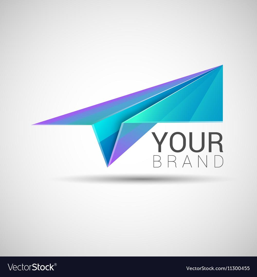 Paper plane logo design Purple turquoise color vector image