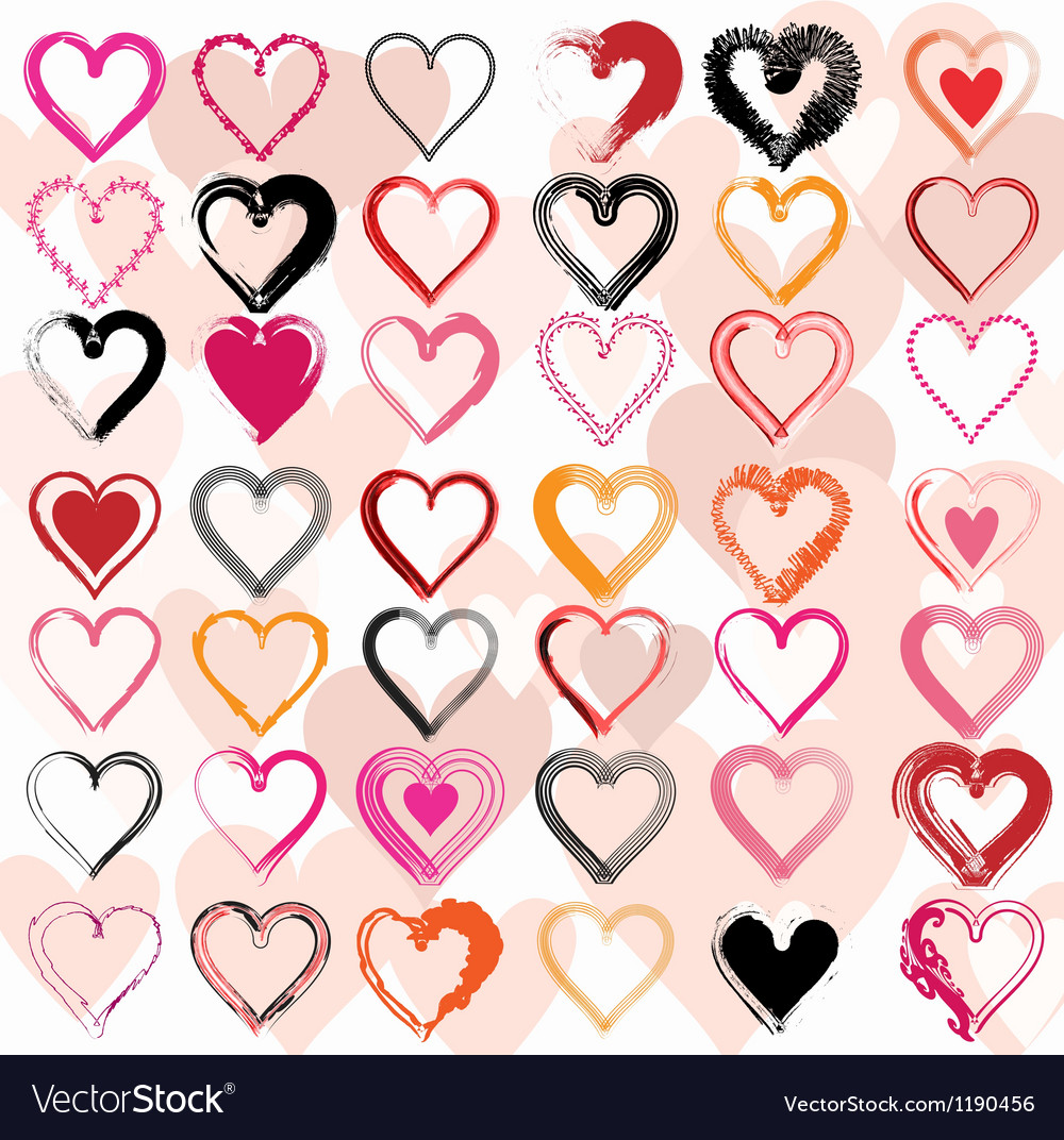 Set of scribble hearts with grungy texture vector image