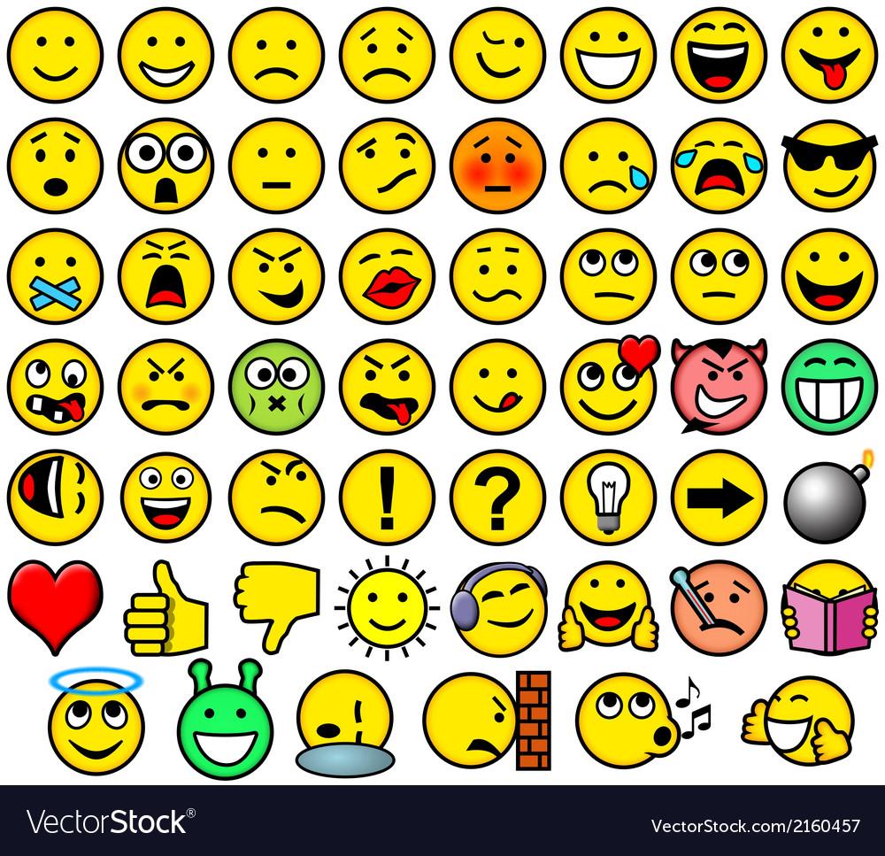 Classic retro style 54 smileys vector image