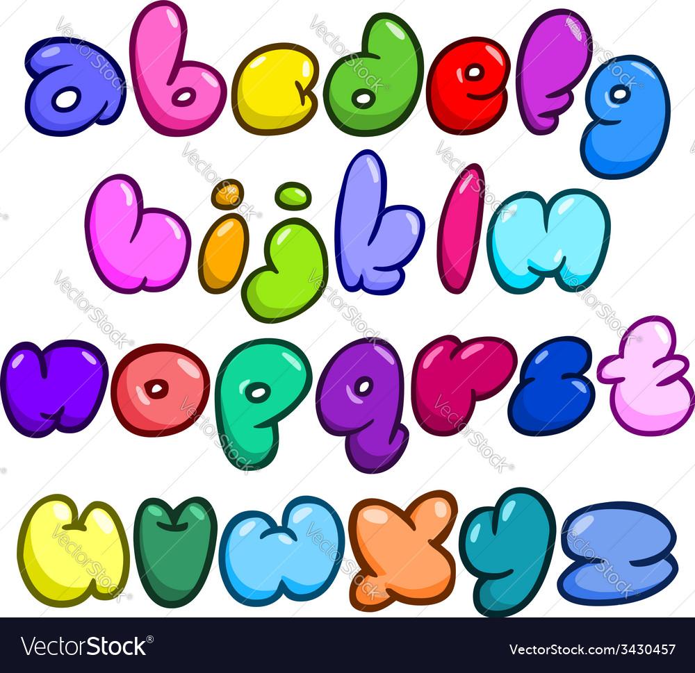 Comic bubble lower case alphabet vector image
