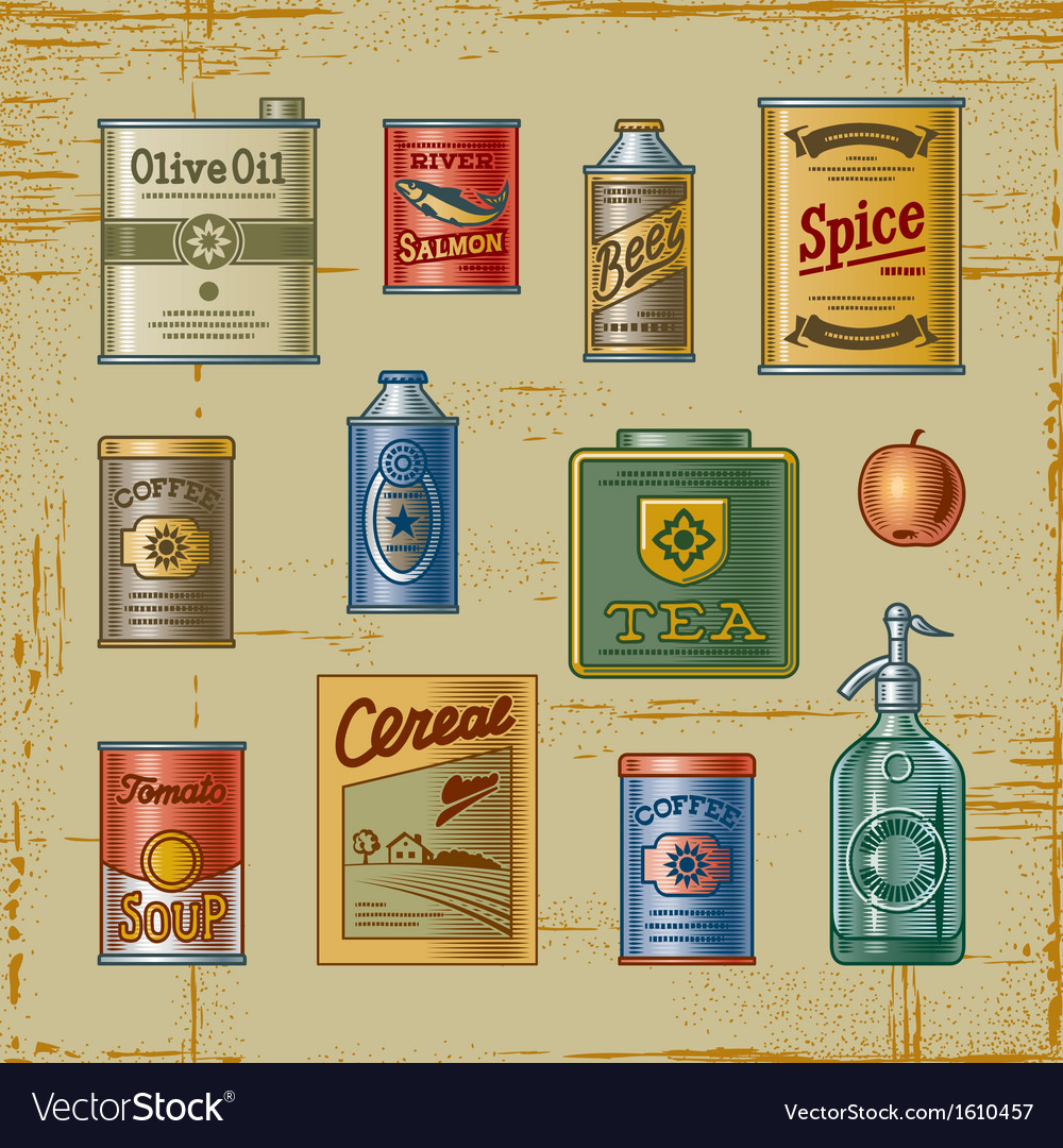 Retro grocery set vector image