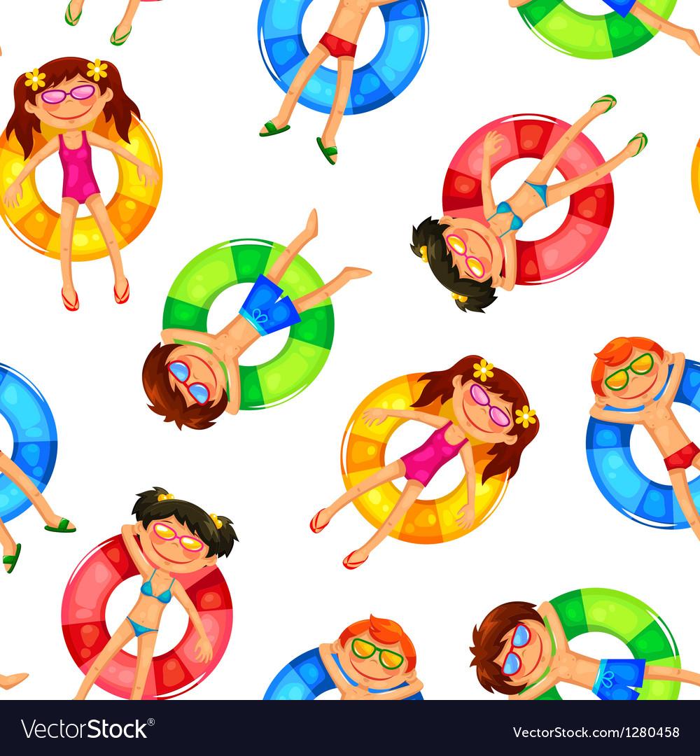 Floating kids pattern vector image