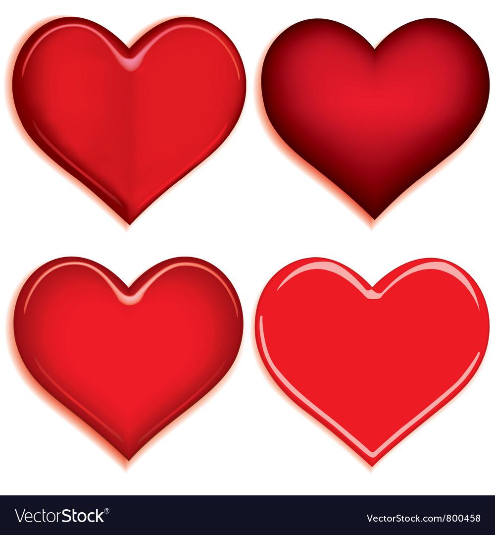 Set of 4 valentine heart vector image