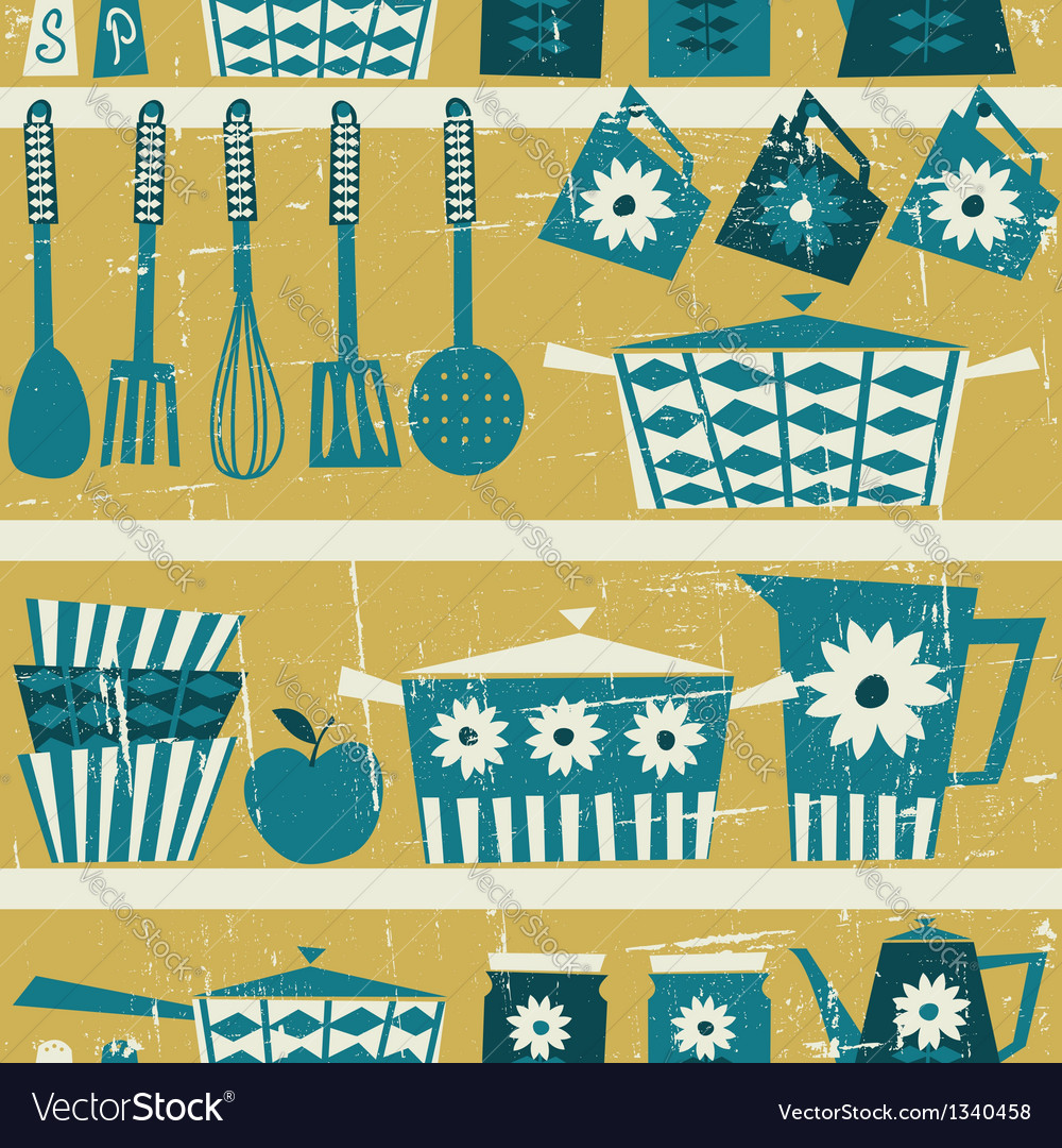 Vintage Kitchen Background Royalty Free Vector Image