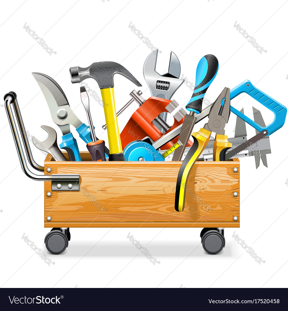 Wooden toolbox trolley with tools vector image