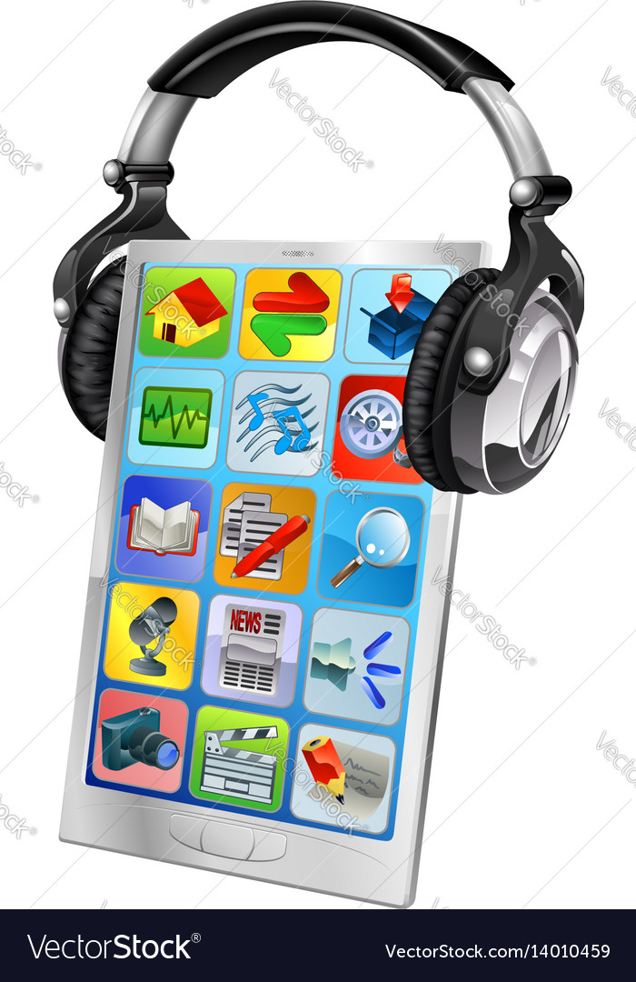 Mobile phone music headphones vector image