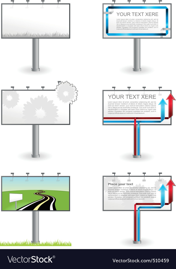 Vector advertising outdoor blank billboards set vector image