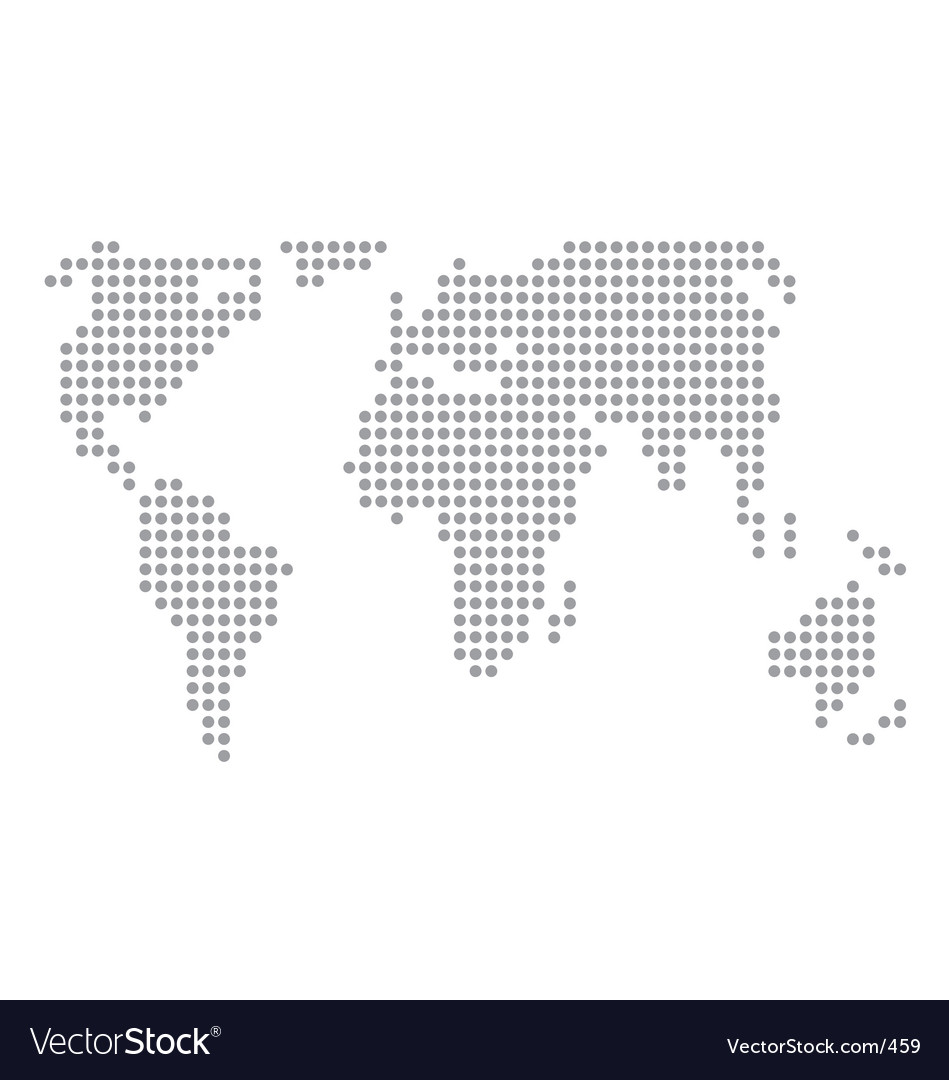 World Map Basic Dots Royalty Free Vector Image - Basic world map