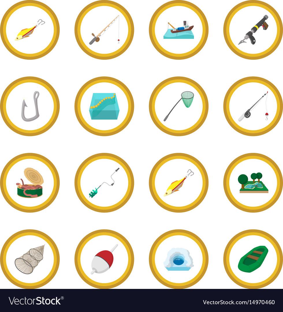 Fishing cartoon icon circle vector image