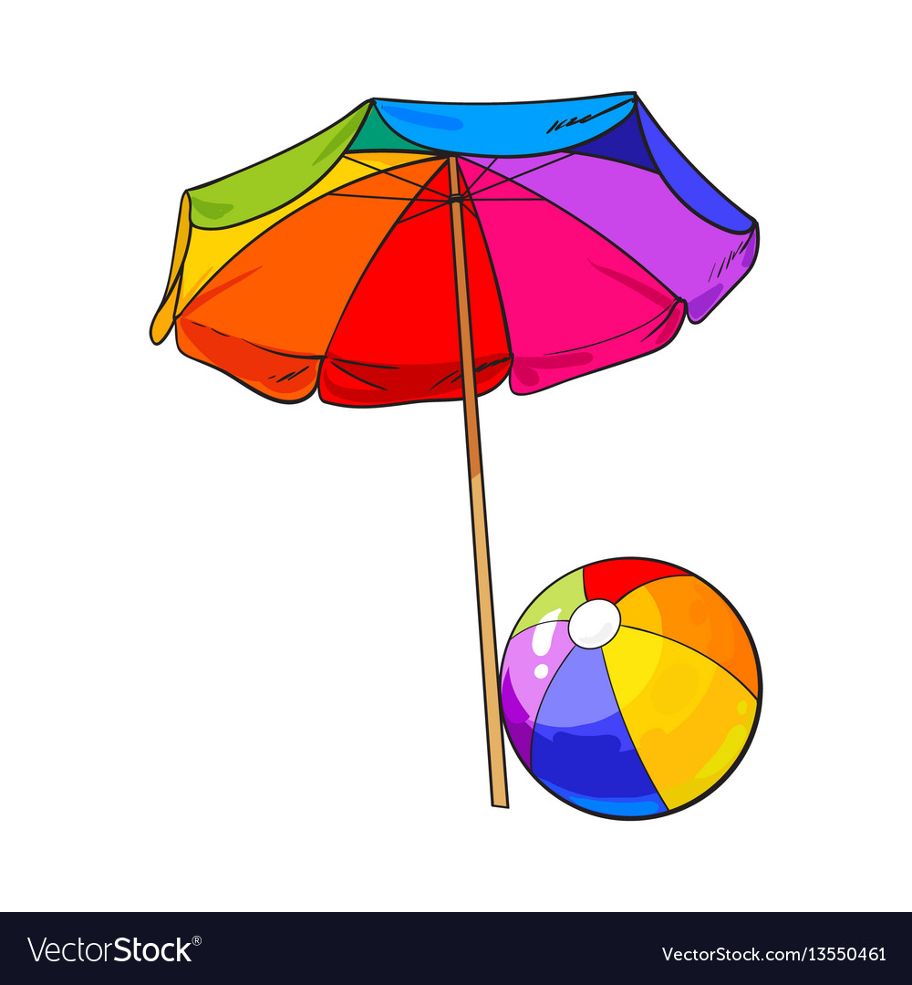 Rainbow colored open beach umbrella and inflated vector image
