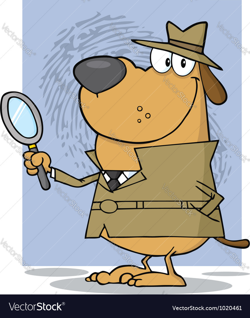 Smiling Detective Doggy Holding A Magnifying Glass vector image