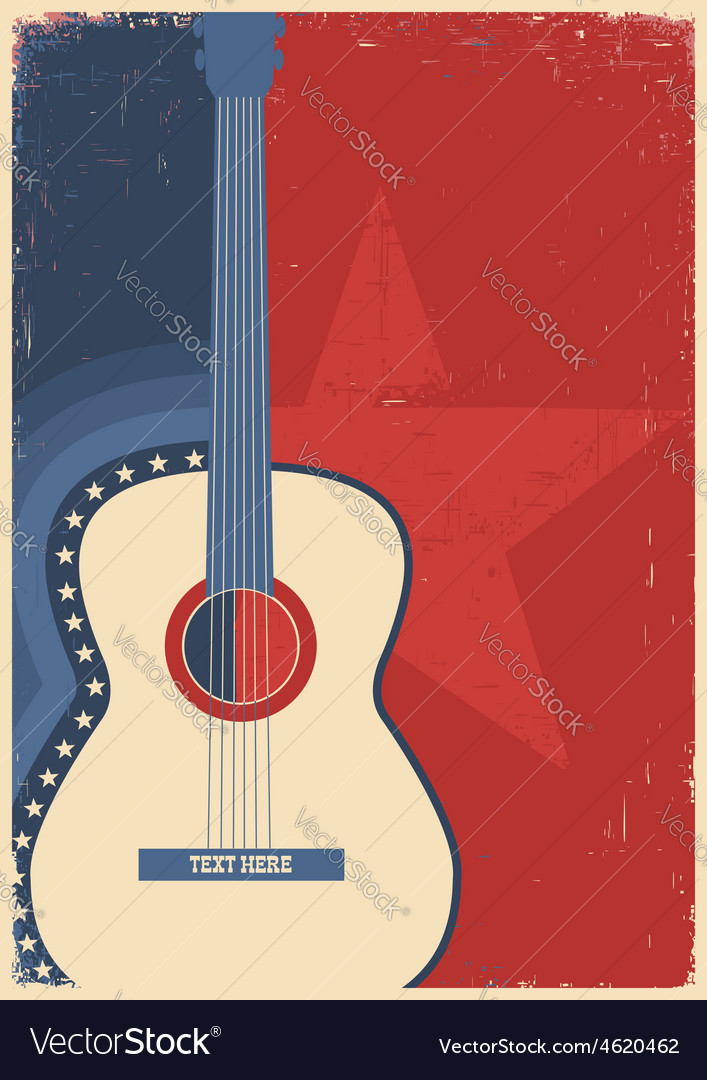 Concert guitar for poster music festival vector image