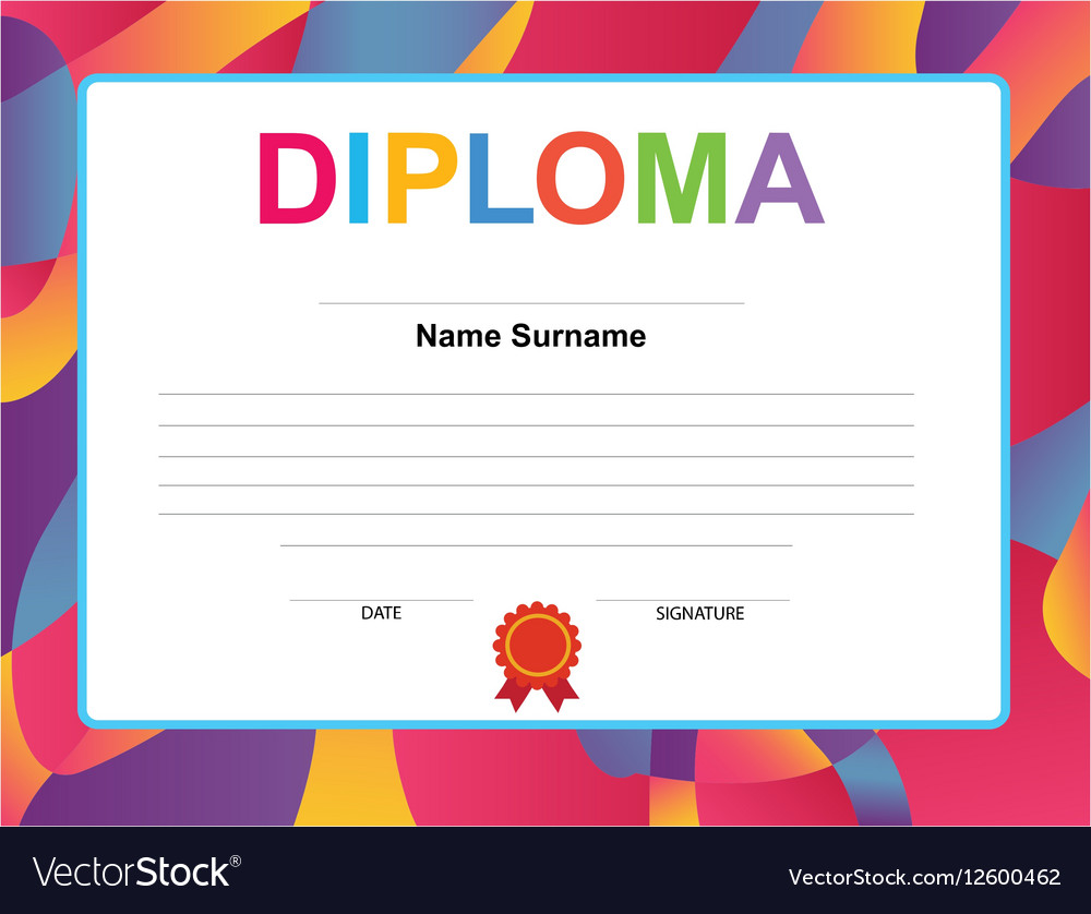 kids diploma certificate background design vector image kids diploma certificate background design vector image