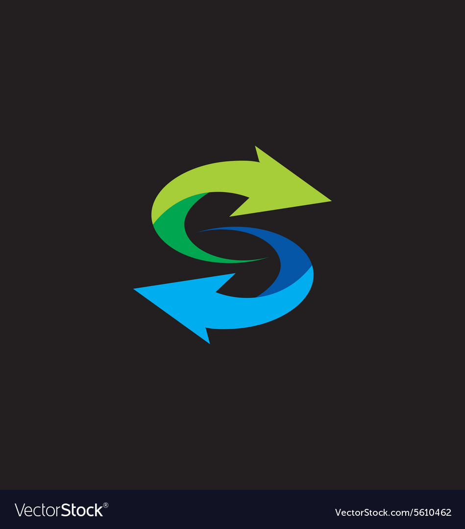 Letter S arrow circle logo vector image