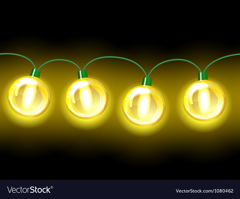 Yellow lamp festive garland Seamless vector image