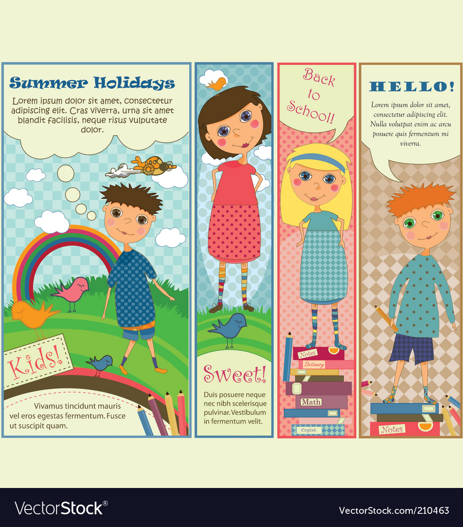 Vertical banners with cute kids Vector Image