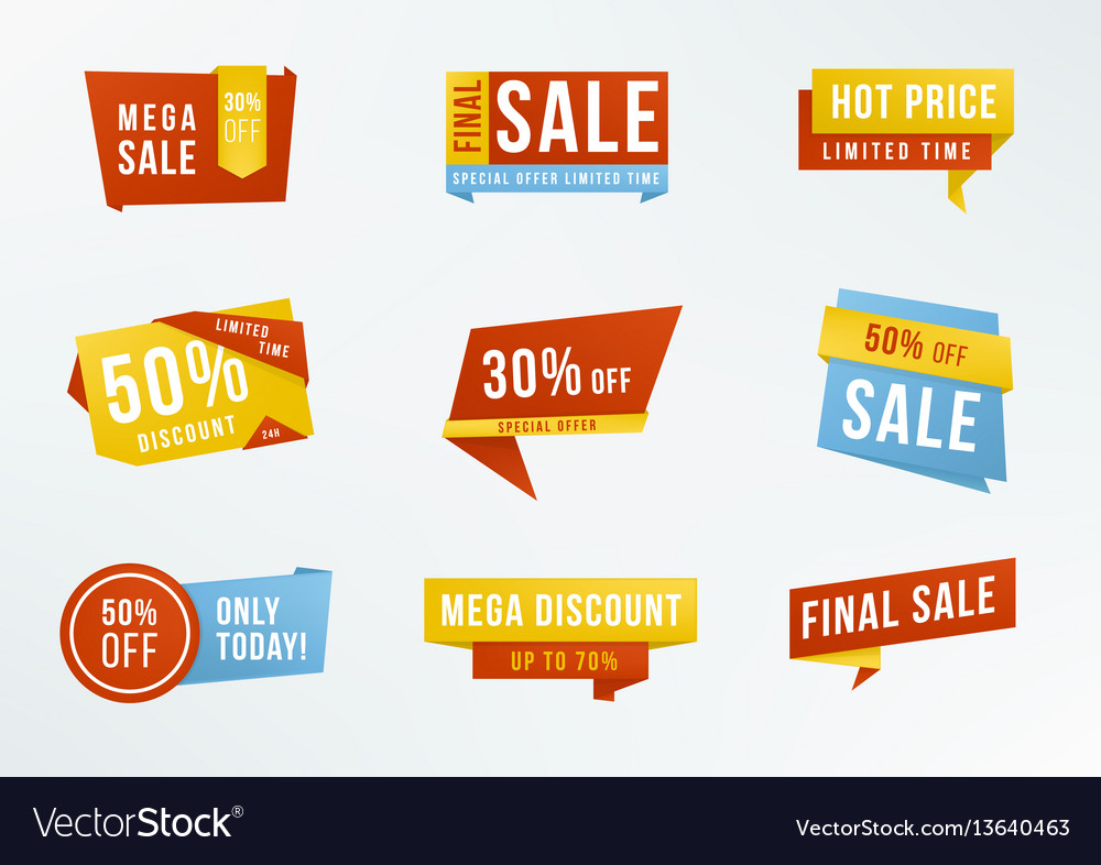 Set of promotional labels with lettering sale vector image