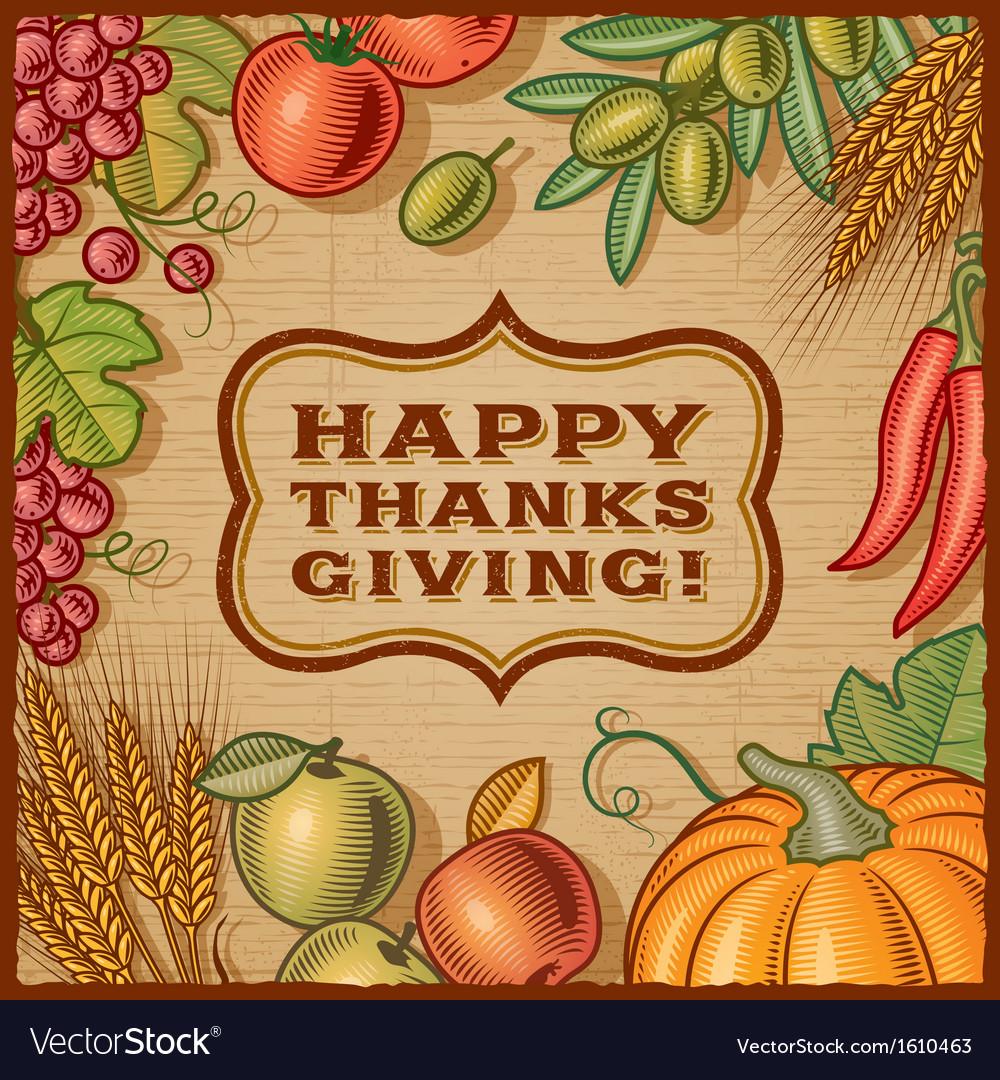 Thanksgiving Retro Card vector image
