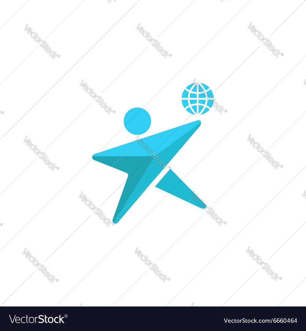 Globe logo man silhouette together concept save vector image