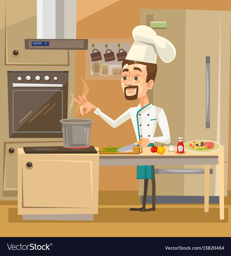Happy smiling chef character kitchen preparing vector image