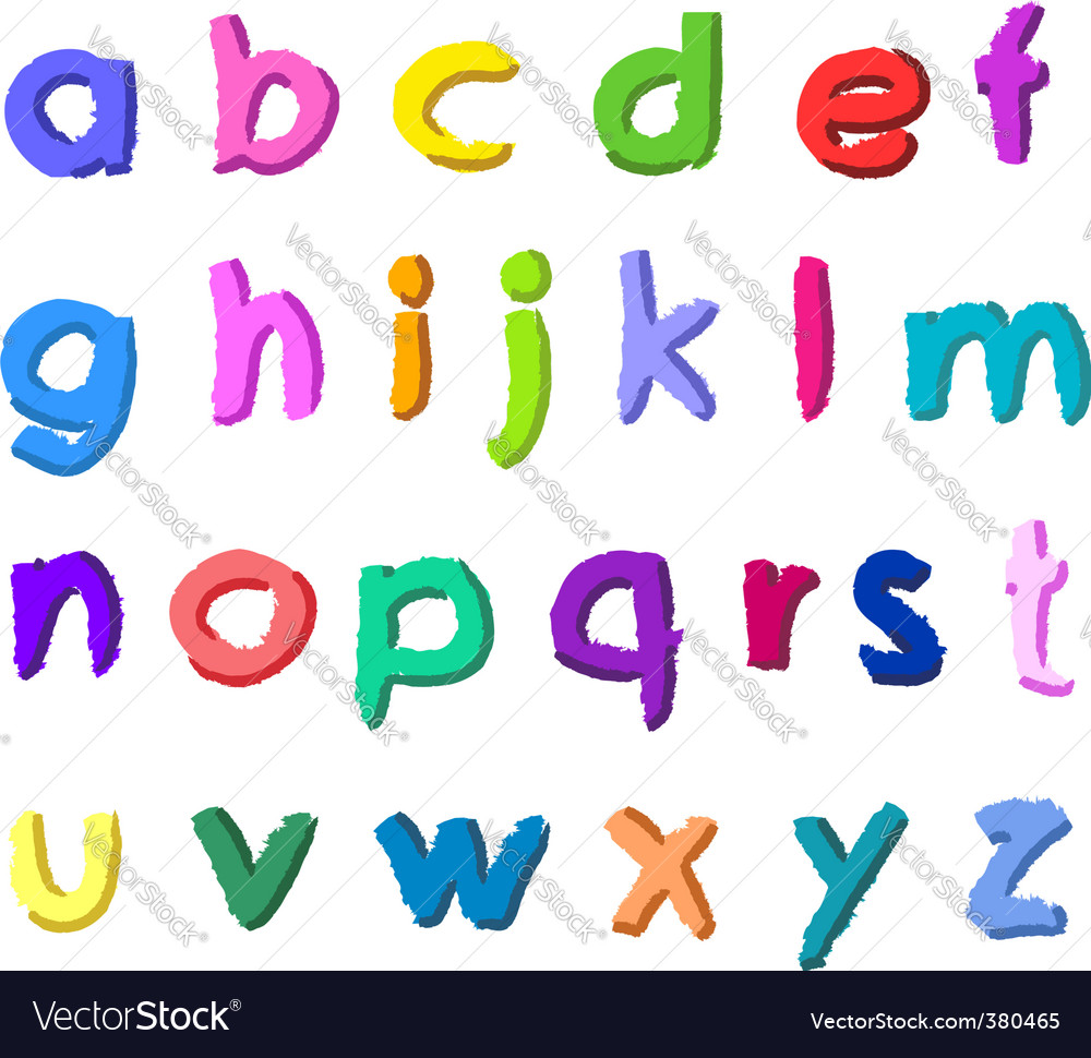 Colorful hand drawn small letters vector image