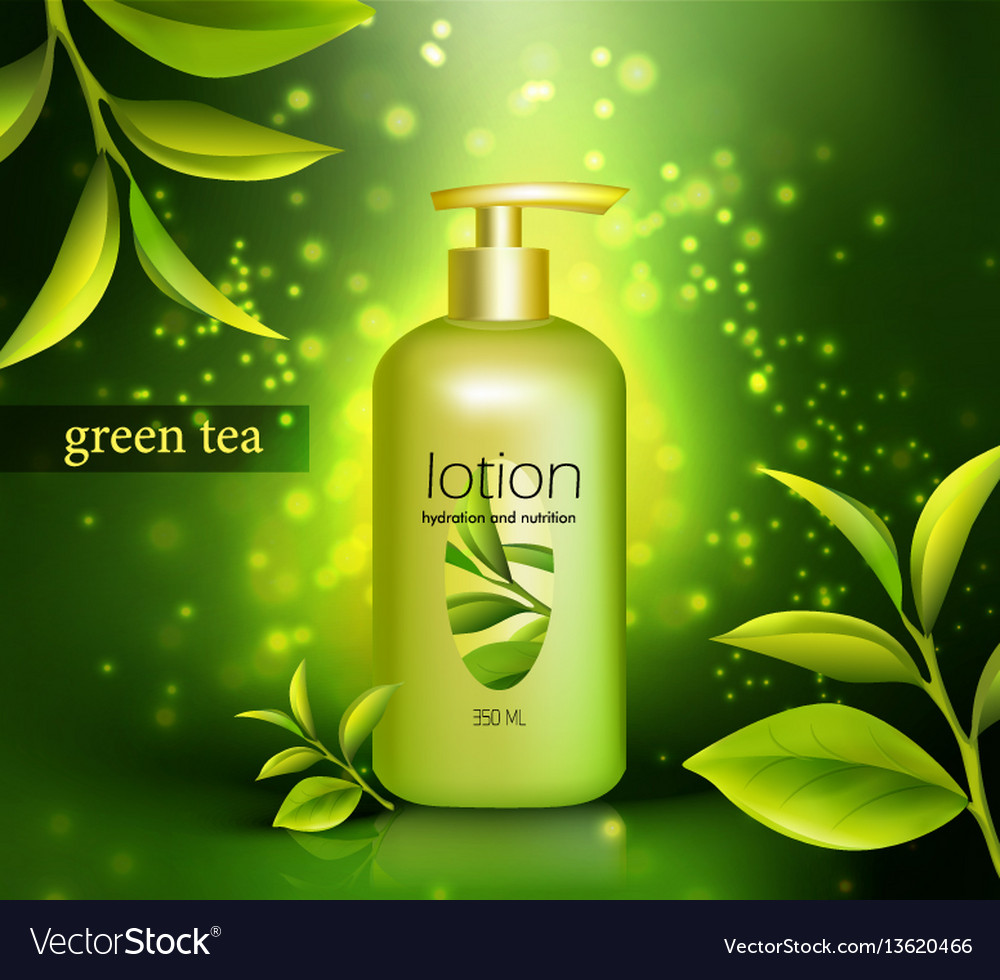 Lotion with green tea vector image