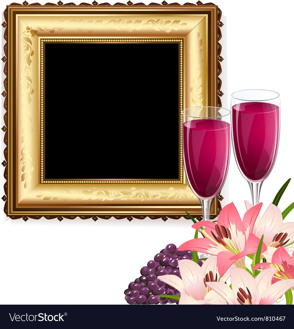 Fruit wine and frame Vector Image