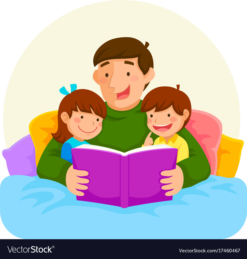Bedtime story with dad royalty free vector image for Bed stories online