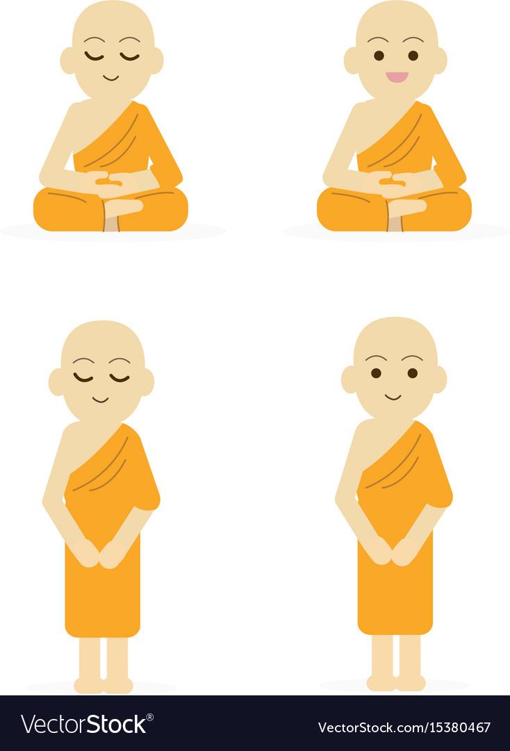 Monk cartoon set peaceful isolated white vector image