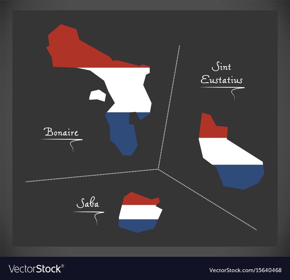 Bonaire - sint eustatius - saba netherlands map vector image