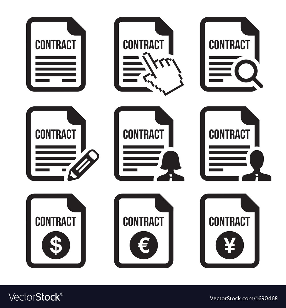 Business or work contract signing icons set vector image
