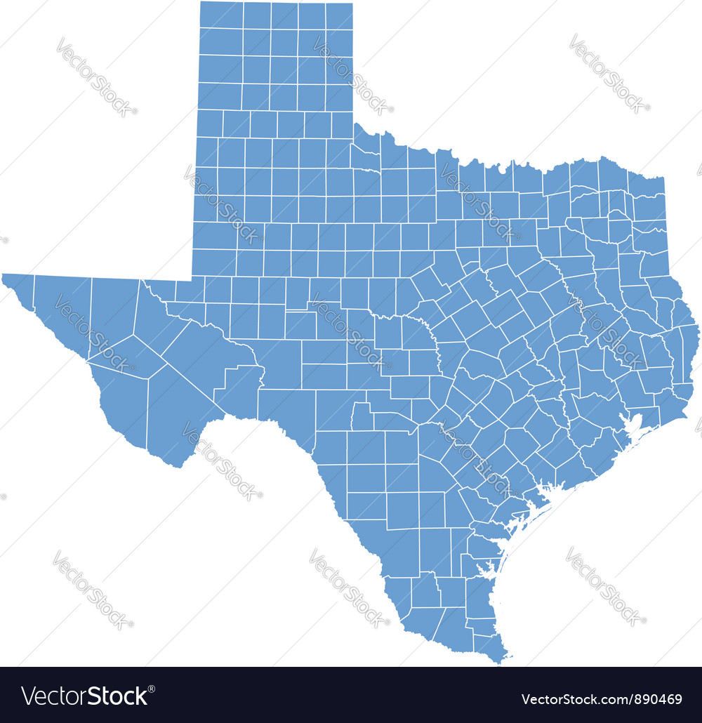 State Map Of Texas By Counties Royalty Free Vector Image - State map of tx