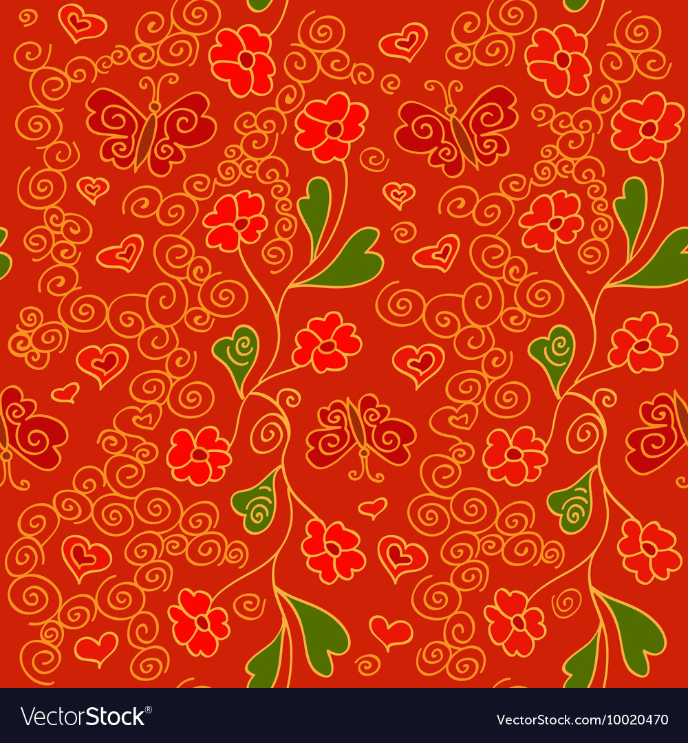 Seamless pattern with flowers butterflies and vector image