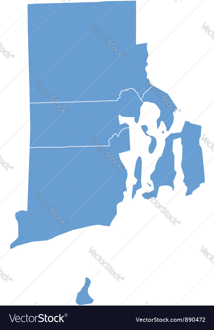 State Map Of Rhode Island By Counties Royalty Free Vector - Map of rhode island