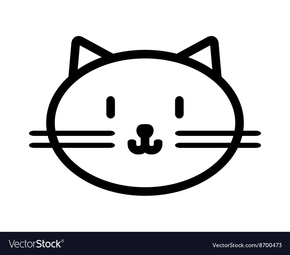 Cat muzzle Flat linear black and white icon of vector image