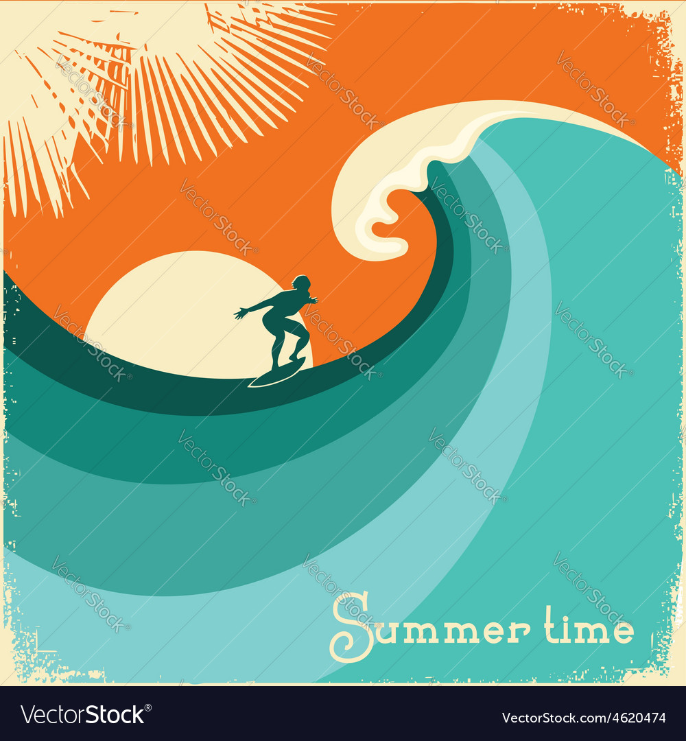 Surfer and sea waveRetro poster vector image