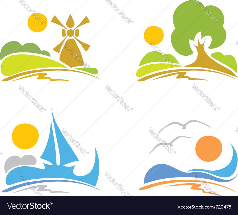 Signs - summer sea nature Vector Image