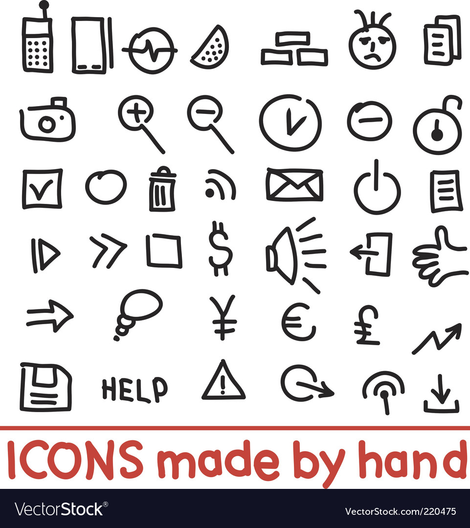 Icons made by hand vector image