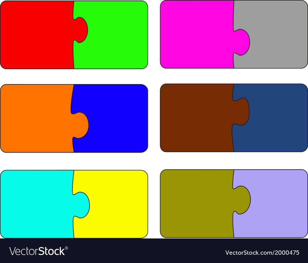 Six parts of color puzzle A vector image