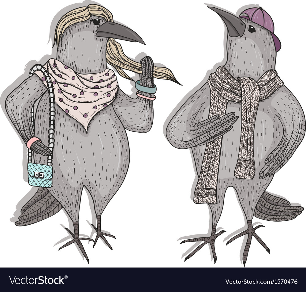 Cute cartoon hipster crows vector image