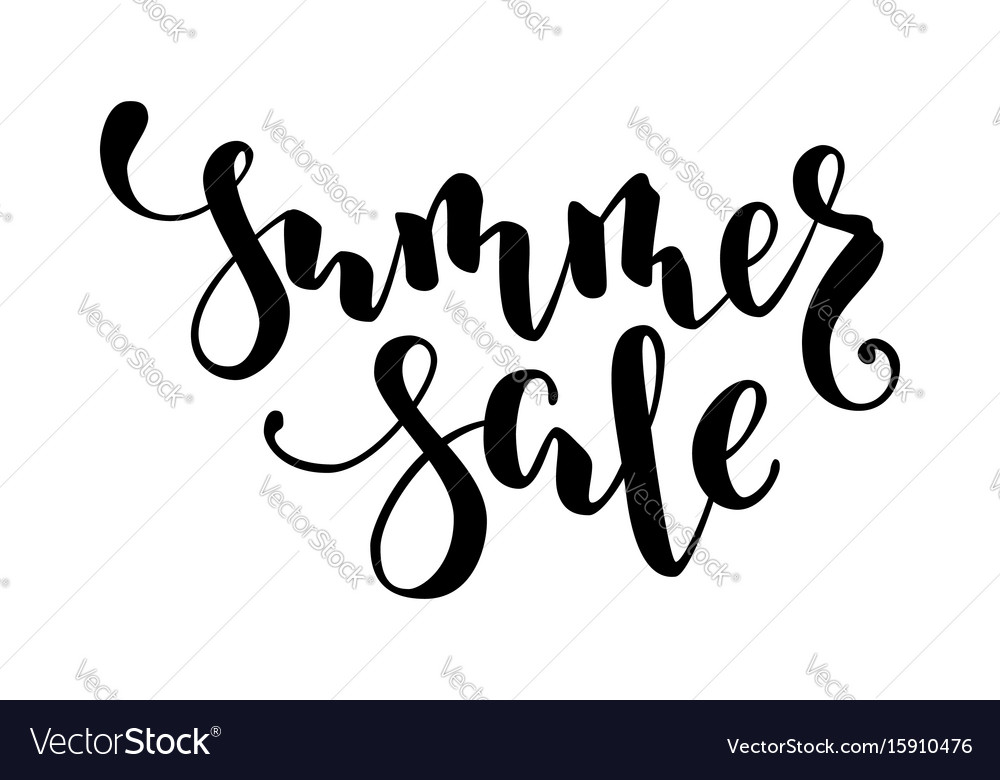 Summer sale hand drawn calligraphy and brush pen vector image
