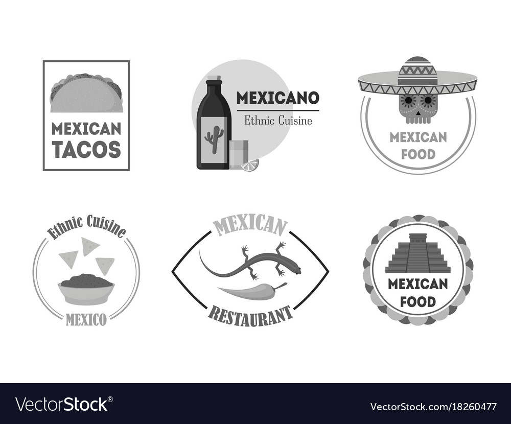 Cartoon silhouette black mexican food badges or vector image