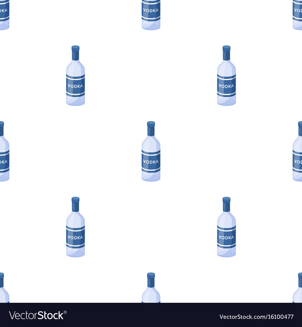 Glass bottle of vodka icon in cartoon style vector image