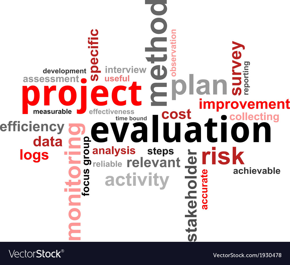 Word cloud project evaluation Royalty Free Vector Image