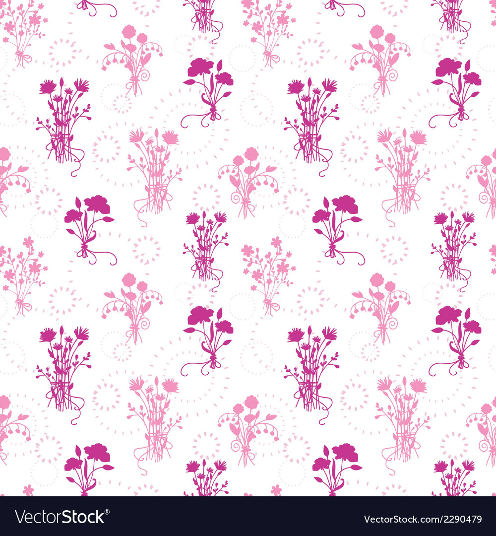 Pink flower bouquets seamless pattern background vector image