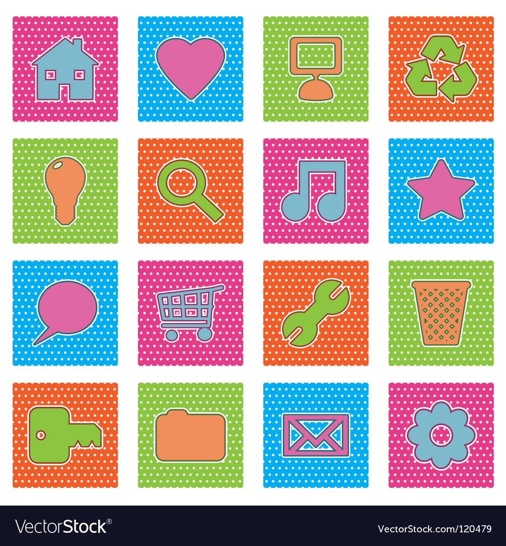 Polka dot icons vector image